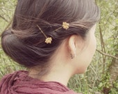 Gold Flower Bobby Pins Floral Hair Clips Bride Bridal Bridesmaid Garden Rustic Woodland Wedding Accessories Womens Gift For Her Autumn Fall