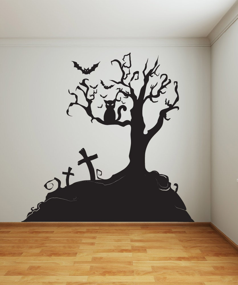 Vinyl wall decal sticker halloween tree 1014s by stickerbrand for Black tree mural