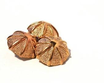 Copper Vintage Buttons x3 - 1940s 50s  Plastic Buttons - New Old Stock Buttons - Umbrella Buttons - Plastic Shank