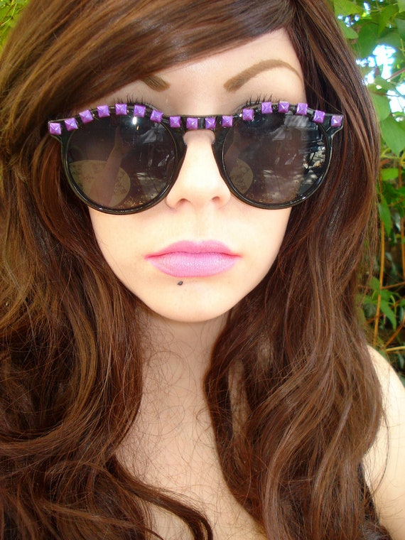 Gypsy- Black Round Sunglasses With Small Metallic Purple Pyramid Studs Along Top