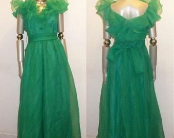 Vintage Bonwit Teller Green Chiffon Sheer See Thru Organza Formal Gown Long Dress w/ Long Belt  Size 10
