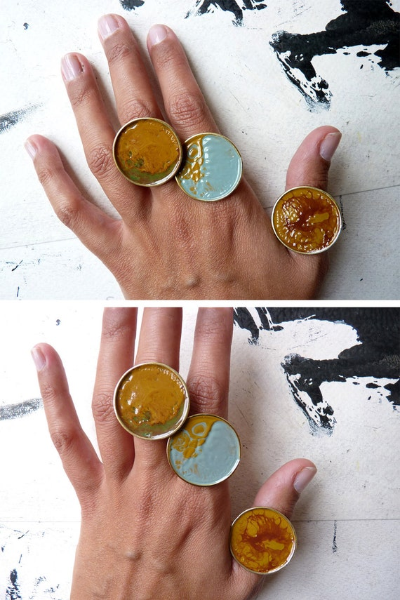 Adjustable landscape enamel ring by Ana Pina