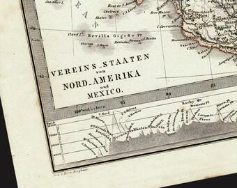 1866 Antique NORTH AMERICA Stieler's map, original antique 146 years older