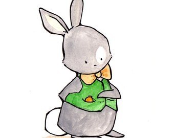 Sir Nigel -- Nursery Art, child wall art, boy nursery, girl nursery,bunny rabbit