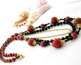 Eco Friendly Upcycled Red Necklace