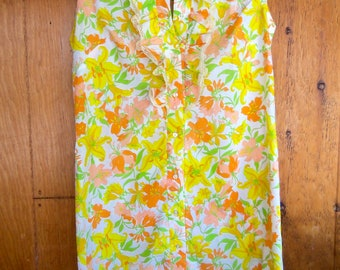 60s LILY PRINT SHIFT--Let the Sun Shine In--Never Worn With Tag--Cotton--Ruffles--Plus Size