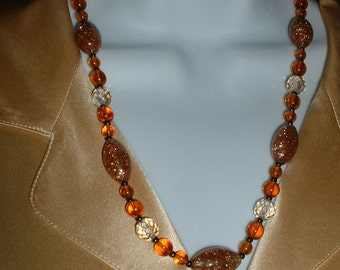 Vintage Italian Murano COPPERY GOLDSTONE Cut Crystal Faceted Golden Amber Bead Necklace 1940 Original