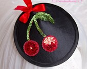 Black Cherry Fascinator, bow, Red, Silk, goth, lolita, rockabilly, Cocktail Hat, wedding, dress, races, mini, fancy,