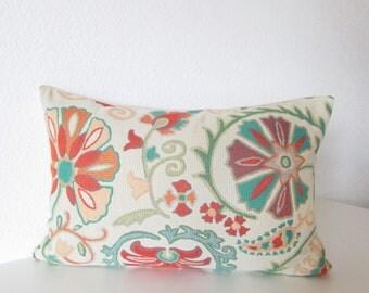 Busy Petal Pool - colorful suzani - Floral - decorative lumbar pillow cover