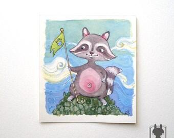 Racoon the conqueror - purple racoon on mountain top - original watercolor illustration - wall decor
