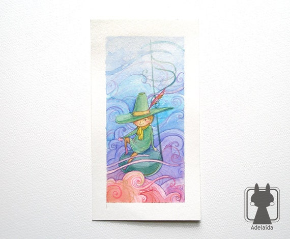 Snufkin from the Moomins - Original illustration - Note, sky and clouds - watercolor fanart picture