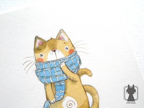 Cat in scarf winter art cute cat illustration original animal