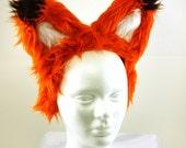 Awesome Bright Orange Fox EARS  - Cosplay - Kawaii - Burning Man - Halloween - Burlesque