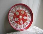 Vintage Metal Tray Red With Teapots Scandinavian Folk Art Design by Elite Trays England, Round Serving Tray, Boho Woodlands Alpine Decor
