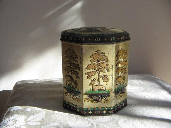 Vintage Deer Tin Metal Hinged Embossed Box by Peek Frean England, Woodlands Nature, Gold Beige Green Black