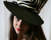 HOLD for Ultimate Fashionista 1: UltimateFashionista1 60s Women's Tall Top Hat with Zebra Stripes by Mr. John NOS