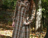 Vintage 70s Trench Coat Long Plaid by Saks Fifth Avenue
