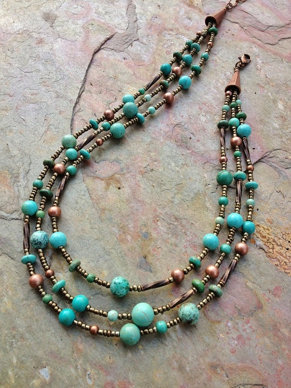 Turquoise Necklace / Turquoise Jewelry / Multi Strand Necklace / Boho Turquoise Necklace / Native Turquoise/ Turquoise Jewelry