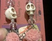 Pink n Bone Howlite Skull Earrings