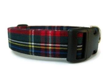 Plaid Dog Collar - Kensington Plaid - Black Hardware