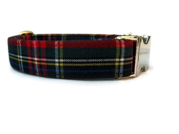 Plaid Dog Collar - Kensington Plaid - Nickel Hardware