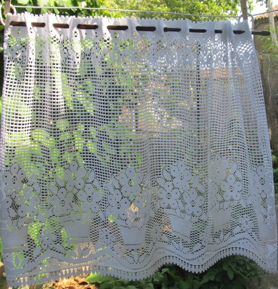 vintage cafe curtain, french panel, lace curtain
