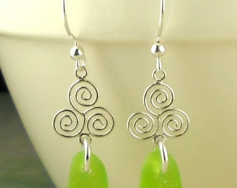 Eco Friendly GENUINE Lime Green Sea Glass Earrings Celtic Spirals