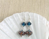 Caramel and Teal Lampwork Glass Earrings
