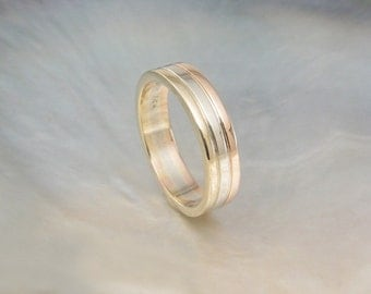 tri-color wedding band / stacking ring in recycled rose gold, white gold, & yellow gold