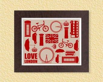 Love London - Grey - 8x10 - England Crown Union Jack Britain Quote Instant Download Digital Printable Poster Room Home Decor Wall Art Print