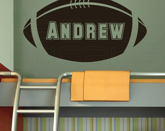 Wall decals personalized BABY NAME FOOTBALL Boys nursery custom decor by Decals Murals