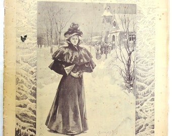 antique 1896 Lady Home Journal Magazine Gibson Girl Queen Wilhelmina complete paper ephemera winter fashion ads