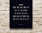 THE HEART Canvas Word Art, Inspirational Quote, Typography Print, Black & White Wall Hanging, Home Decor. 12 x 16