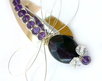 Amethyst Sterling Dragonfly Hair Pin, Clip, Brooch or Bouquet Decoration - Dragonfly Jewelry -Tagt