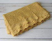 Vintage / Yellow Lace Tablecloth / Rectangular