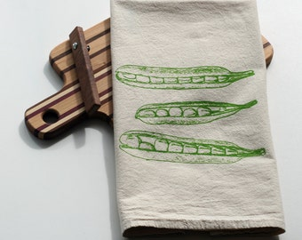 Natural Flour  Sack Towel - Peapods - Hand Screen Printed