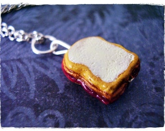 Peanut Butter and Jelly Sandwich Necklace - Enameled Ceramic PBJ Sandwich Charm on a Delicate Silver Plated Cable Chain or Charm Only
