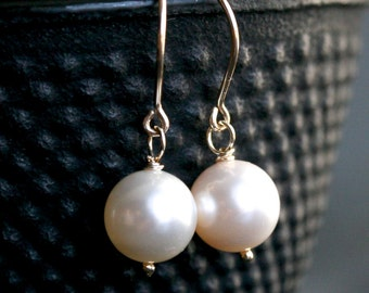 Ivory Swarovski pearl earrings, dangle, Swarovski crystal pearls, 14k gold filled, simple, off white, cream, bridal, Mimi Michel Jewelry