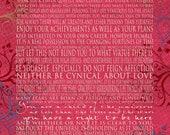 Desiderata Greeting Card - Jewel Tones - Motivational Max Ehrmann 5x7 Word Art Print