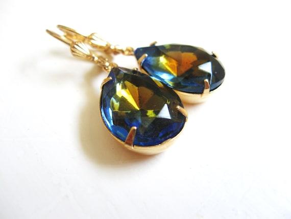 Sapphire Topaz Earrings in Gold - Estate Style - Hollywood Regency - Glam - Vintage Style Rhinestones
