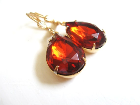 Madeira Topaz Earrings in Gold - Glass Rhinestone Jewels - Estate Style - Autumn Fall