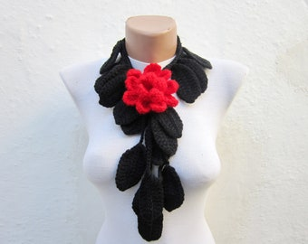 Lariat Scarf, Flower Leaf Necklace, Crochet Lariat Scarves, Brooch pin, Crocheted Jewelery, Red Black, Leaf Accessories, Floral Foulard