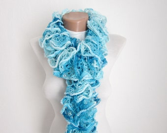 Ruffle Scarf,Knit Scarf,Frilly Scarf,Salsa Scarf,Gift For Women