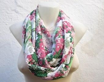 Floral Infinity Scarf, Loop scarf, Neckwarmer, Chiffon  Scarf