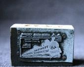 Antique French advertising letterpress block.