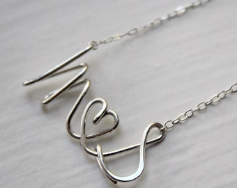 Personalized Script Letter Alphabet Couple Initial Love Silver Gold Necklace - Delicate Simple Modern Jewelry - PROUD, lovers by 5050 STUDIO