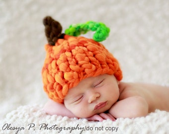 Download PDF knitting pattern k-25 - Newborn Handspun Pumpkin hat