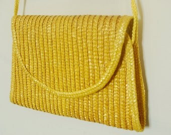 Yellow Straw Purse Clutch Woven Braided Bag