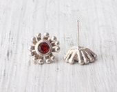 Earrings - Sterling Silver Flower Stud and Red Spinel Earring