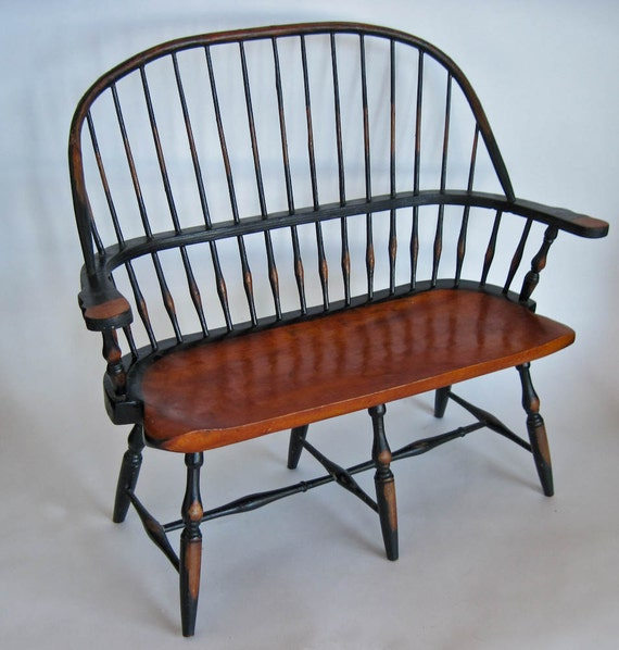 early american wooden settee doll furniture photo prop store